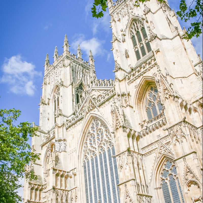 York Minster with blue sky and clouds